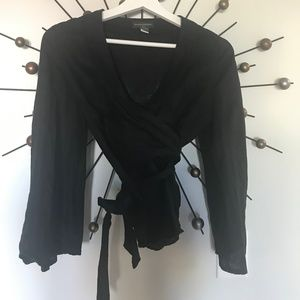 Black Linen Kimono Wrap Top